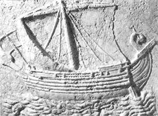 Bateau phénicien en bas relief du 1er siècle avt JC.
