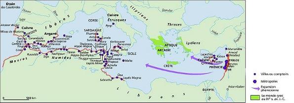Expansion phénicienne en Méditerrannée et monde grec, source: Larrousse